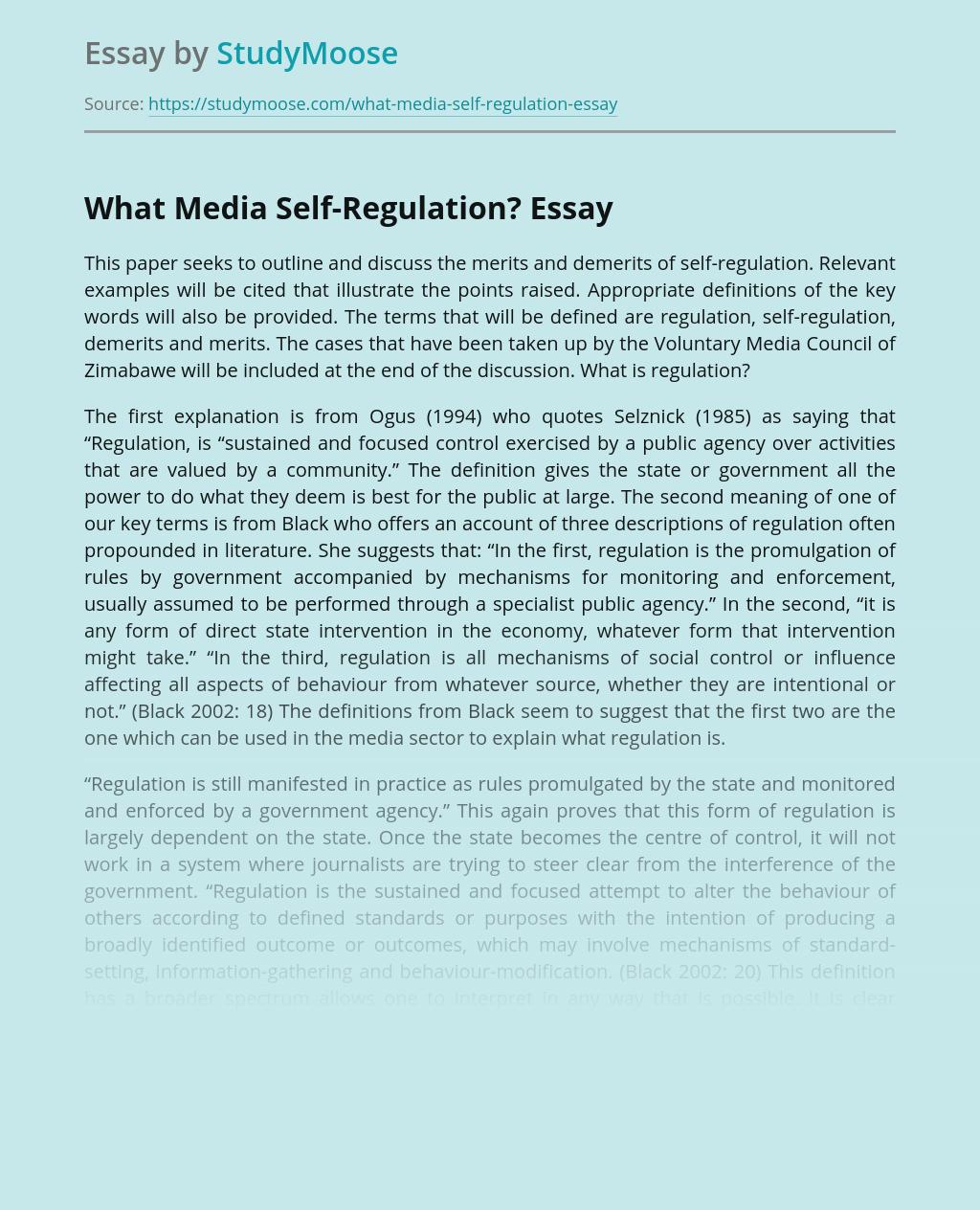 What Media Self-Regulation?