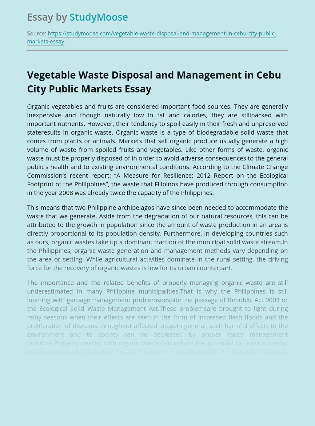 Vegetable Waste Disposal and Management in Cebu City Public Markets