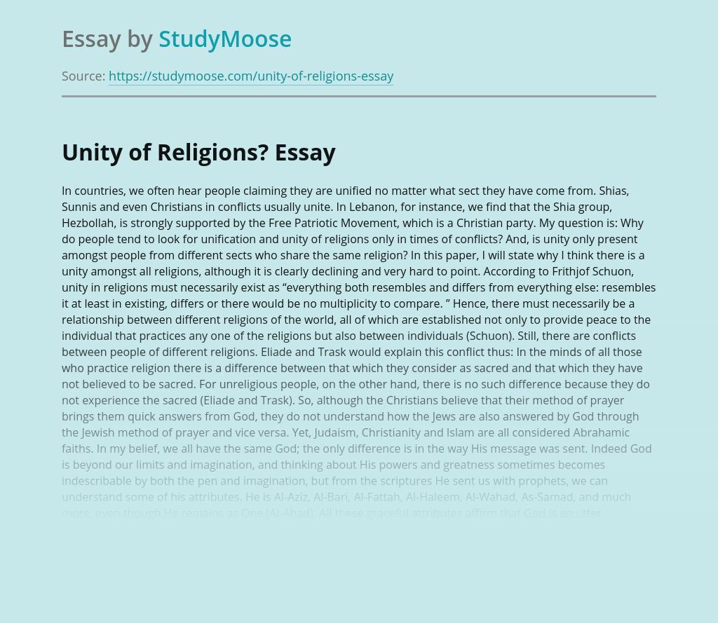 Unity of Religions?
