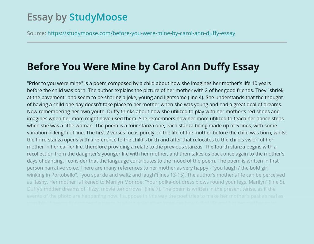 Before You Were Mine by Carol Ann Duffy