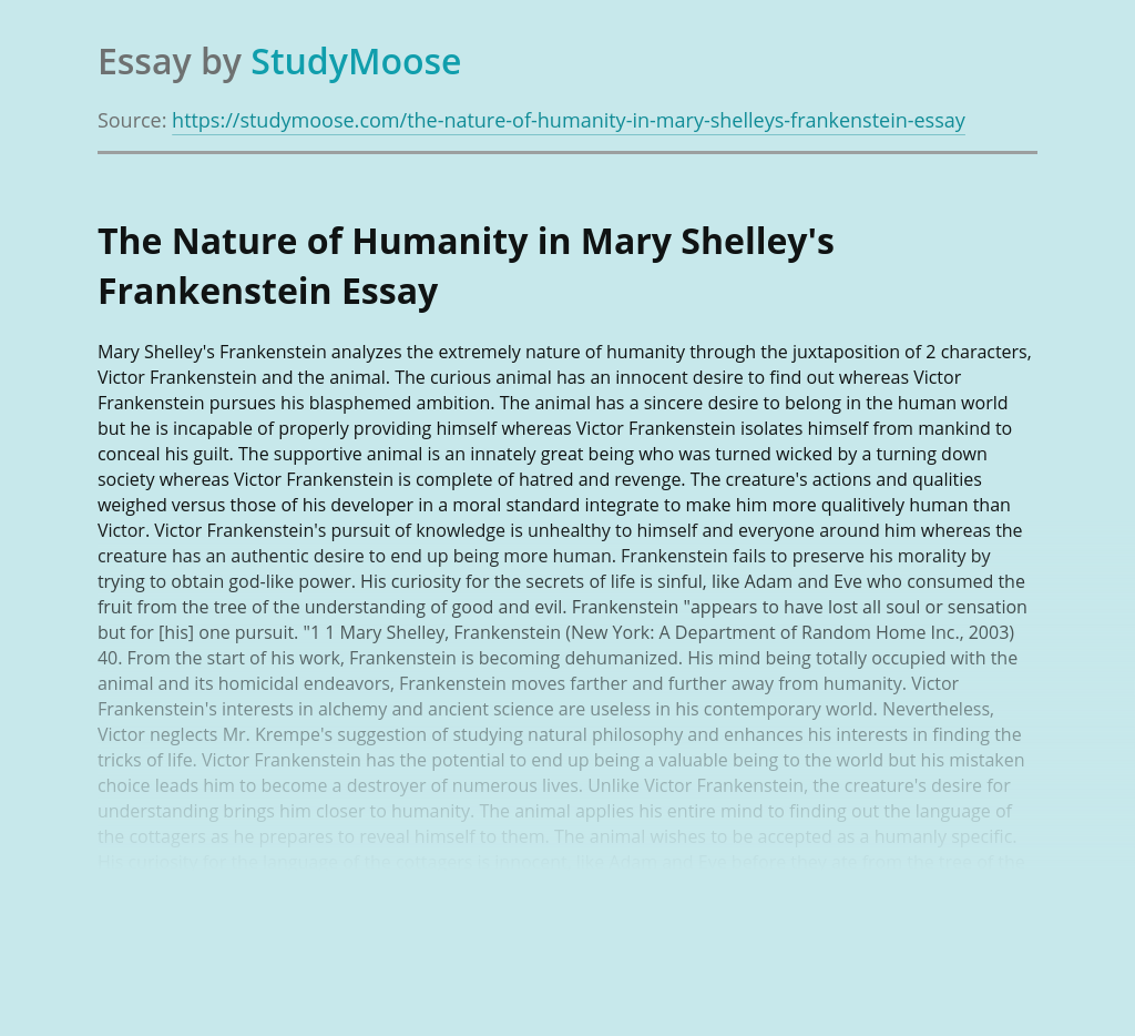 The Nature of Humanity in Mary Shelley's Frankenstein