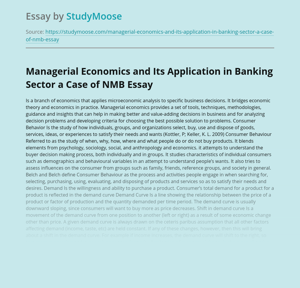 Managerial Economics and Its Application in Banking Sector a Case of NMB