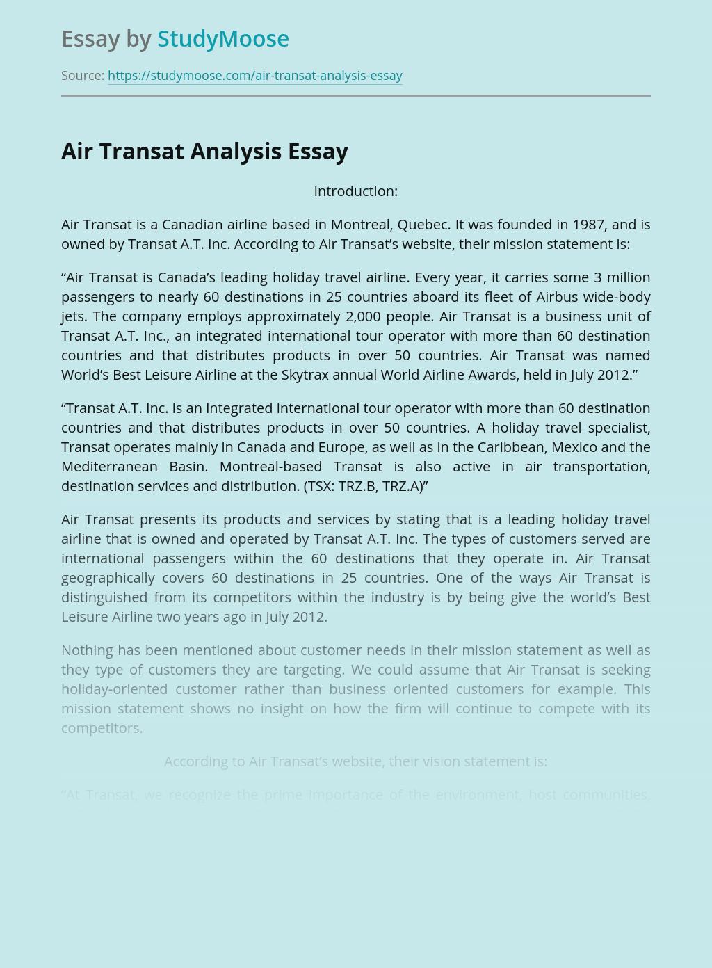 Air Transat Analysis