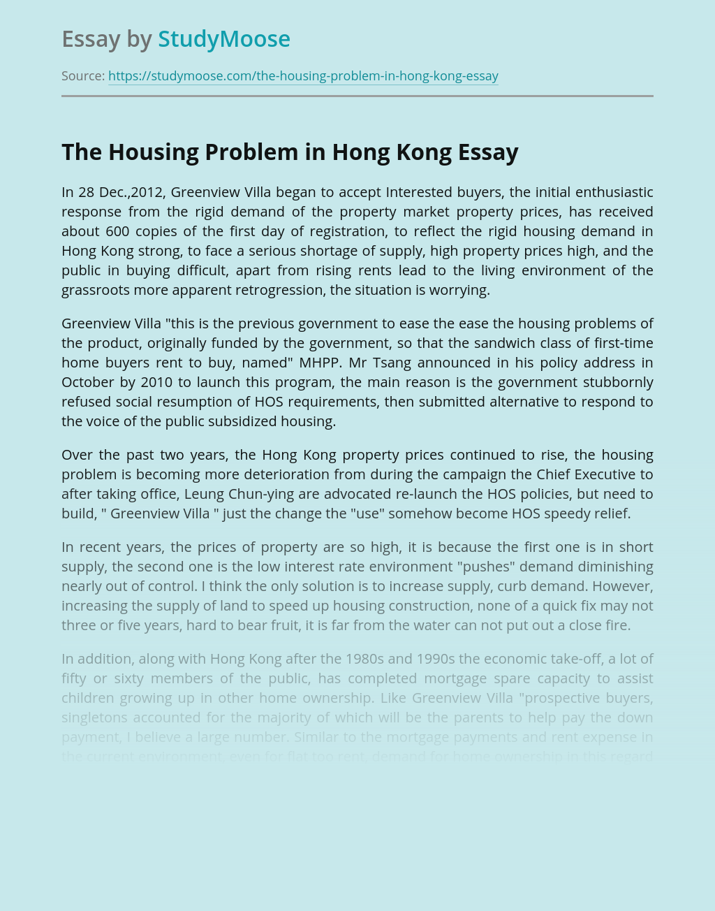 The Housing Problem in Hong Kong