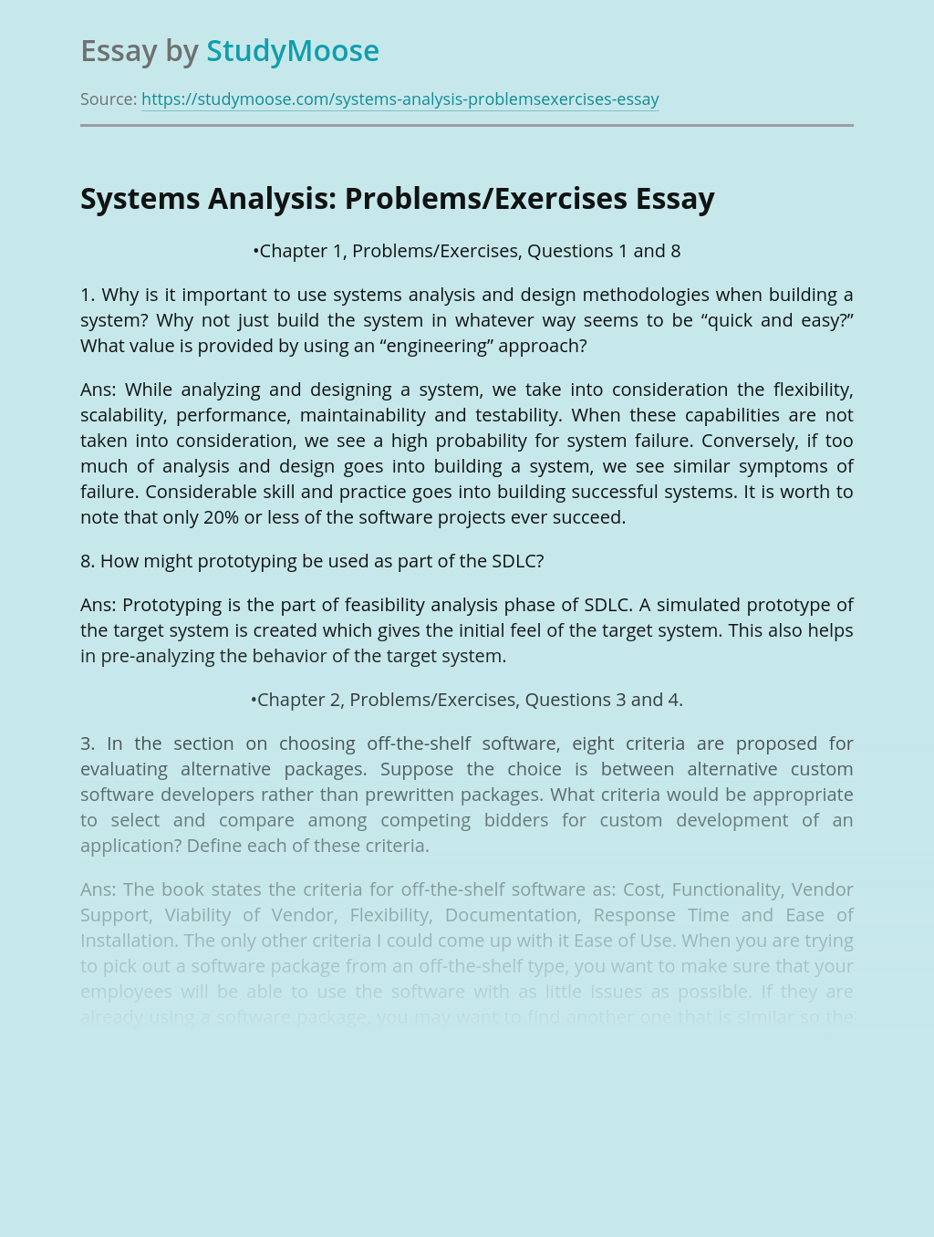Systems Analysis: Problems/Exercises