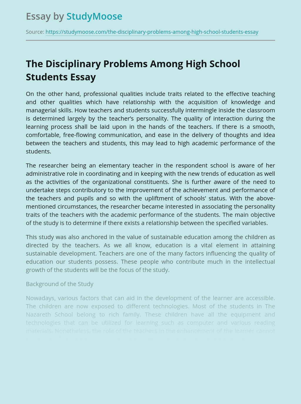 The Disciplinary Problems Among High School Students