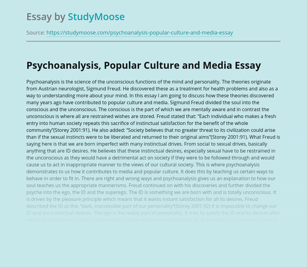 Psychoanalysis, Popular Culture and Media