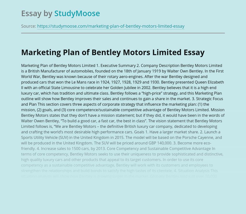 Marketing Plan of Bentley Motors Limited