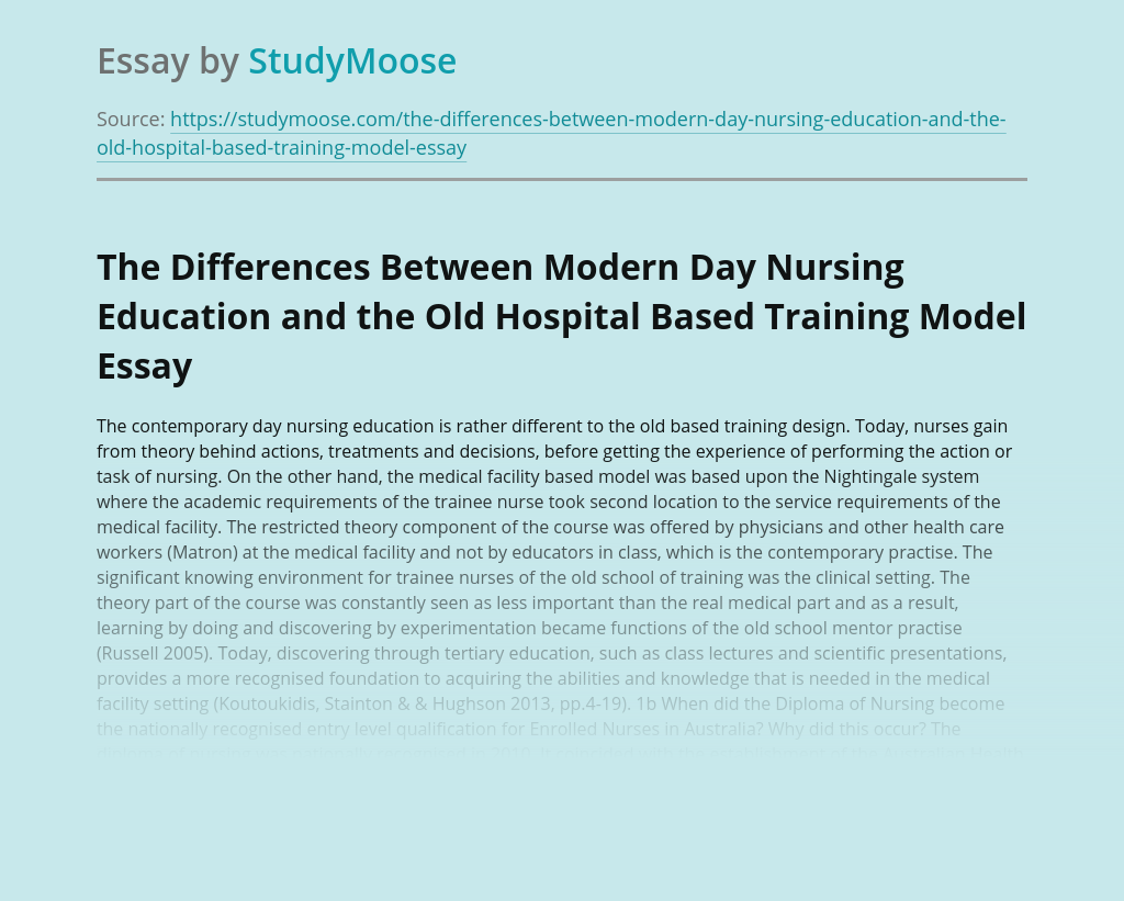 The Differences Between Modern Day Nursing Education and the Old Hospital Based Training Model
