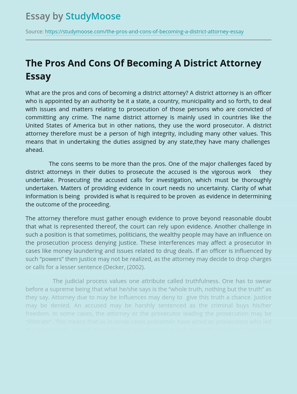 A District Attorney as The Law