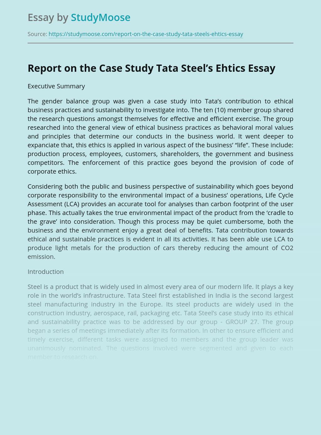 Report on the Case Study Tata Steel's Ehtics