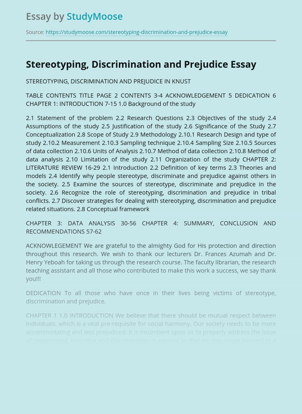 Stereotyping, Discrimination and Prejudice