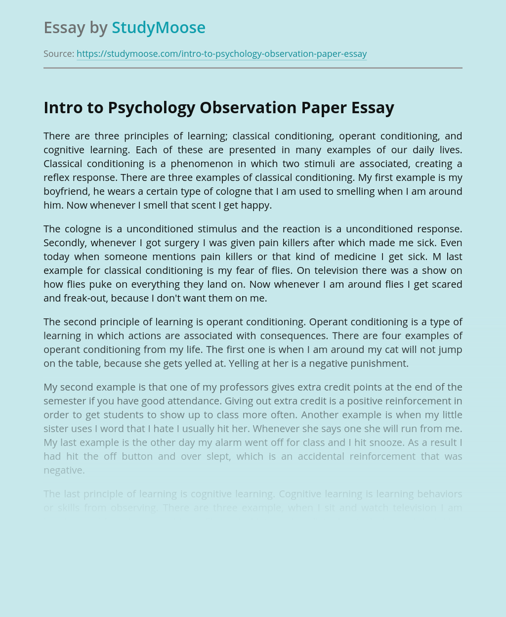 Intro to Psychology Observation Paper