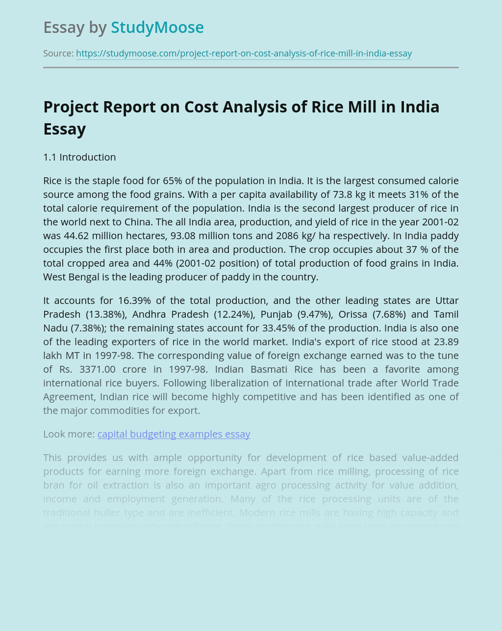 Project Report on Cost Analysis of Rice Mill in India