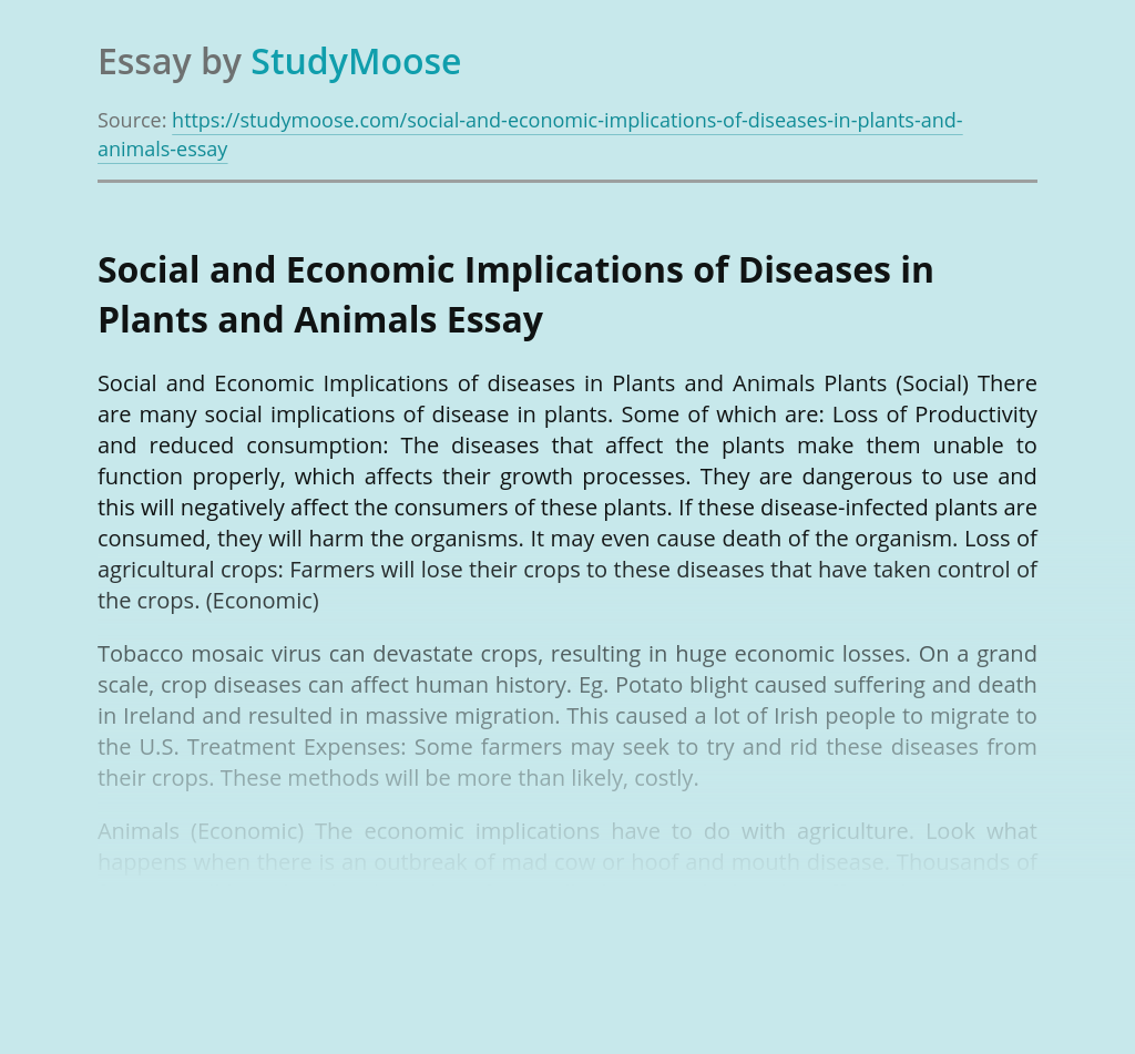 Social and Economic Implications of Diseases in Plants and Animals