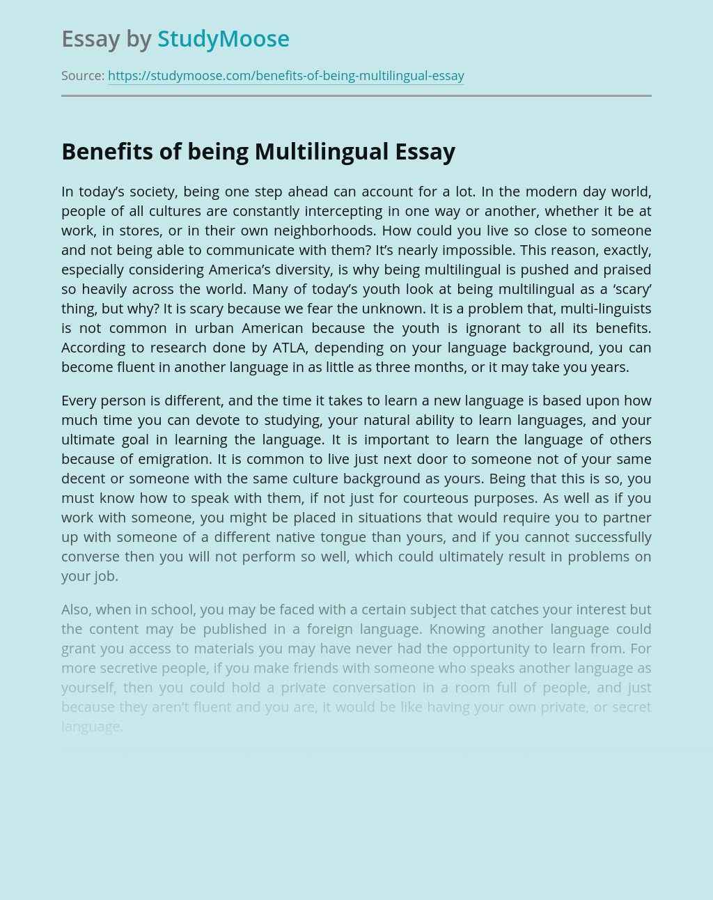 Benefits of Being Multilingual