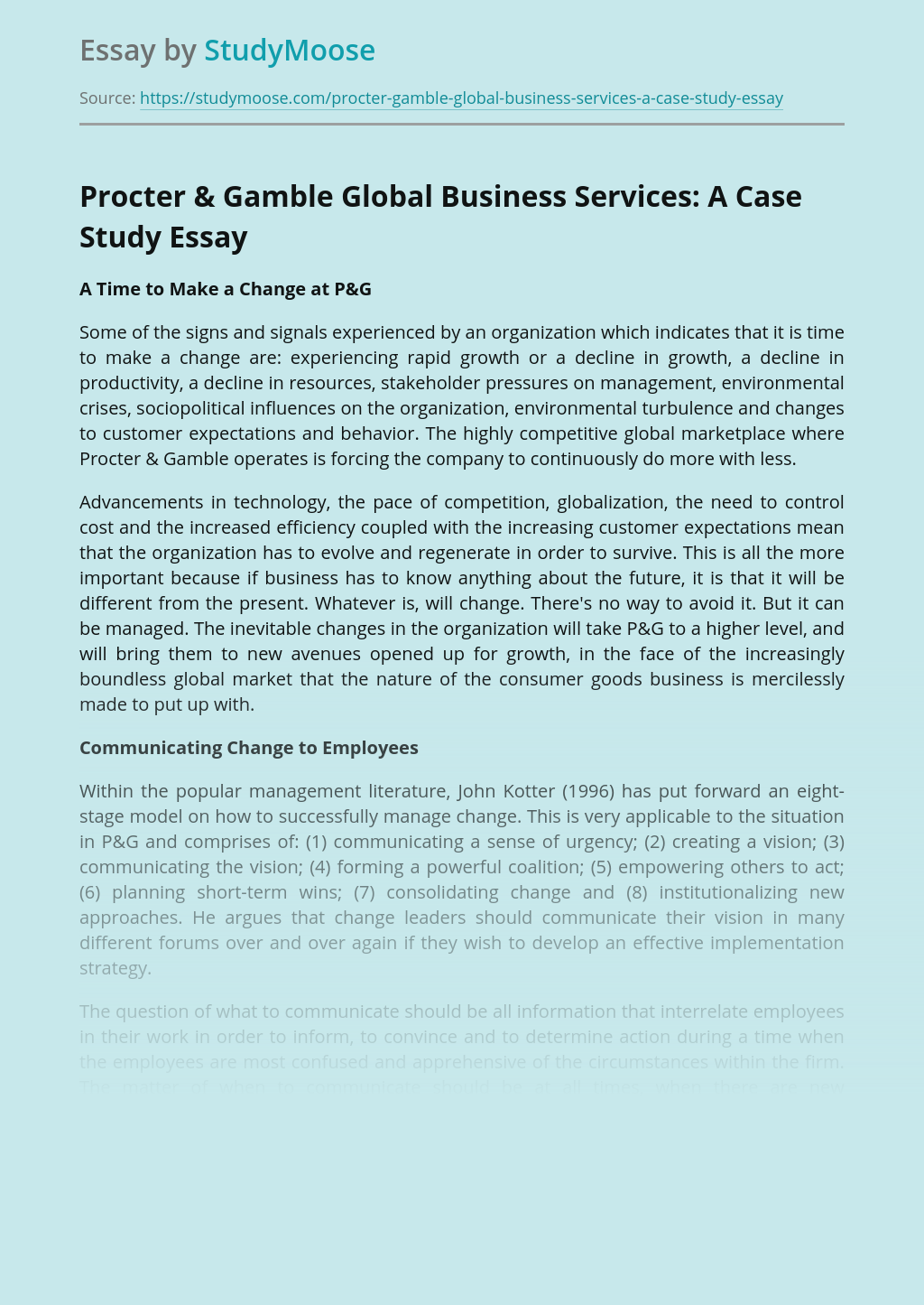 Procter & Gamble Global Business Services: A Case Study