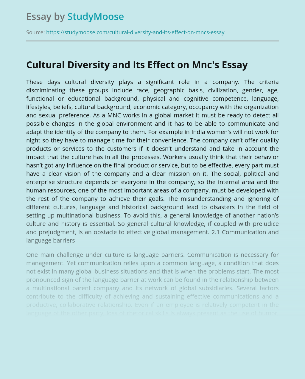 Cultural Diversity and Its Effect on Mnc's