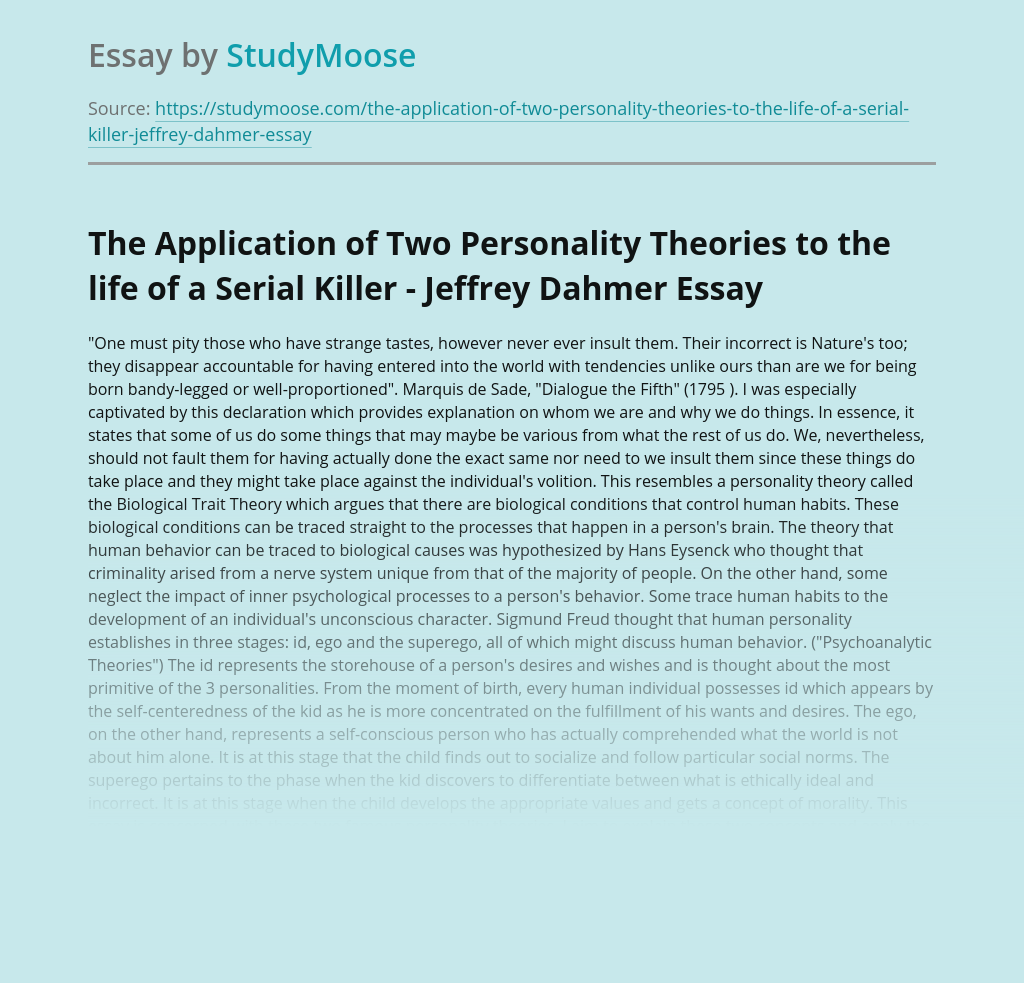 The Application of Two Personality Theories to the life of a Serial Killer - Jeffrey Dahmer