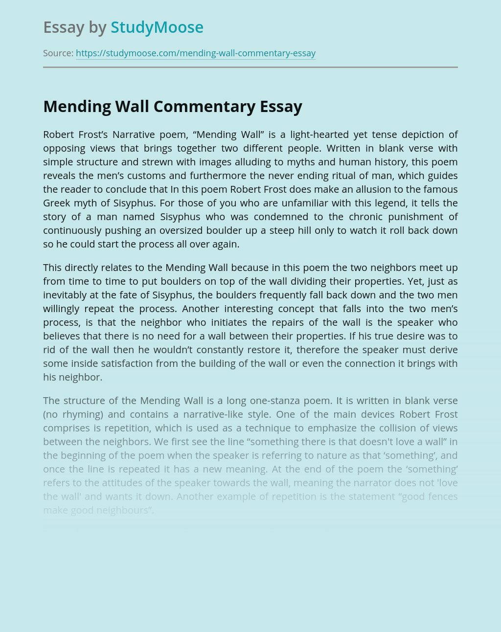 Mending Wall Commentary