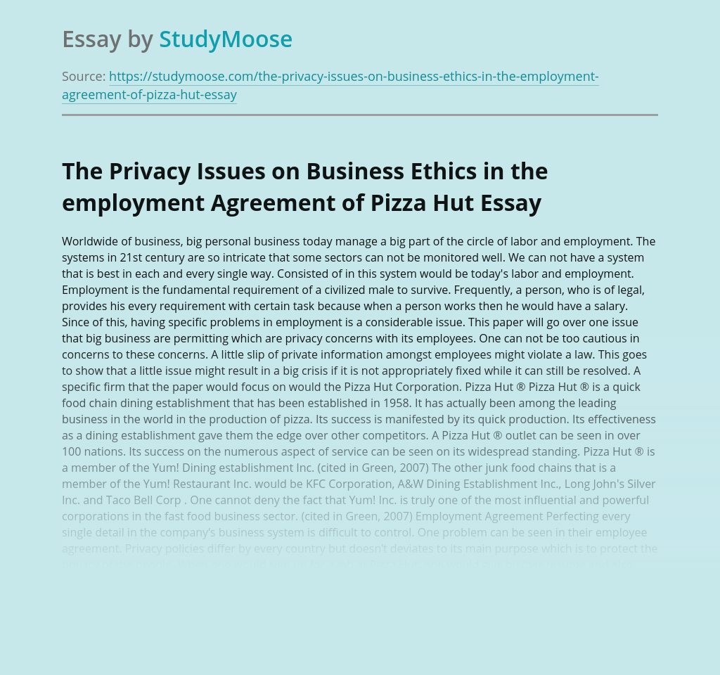 The Privacy Issues on Business Ethics in the employment Agreement of Pizza Hut