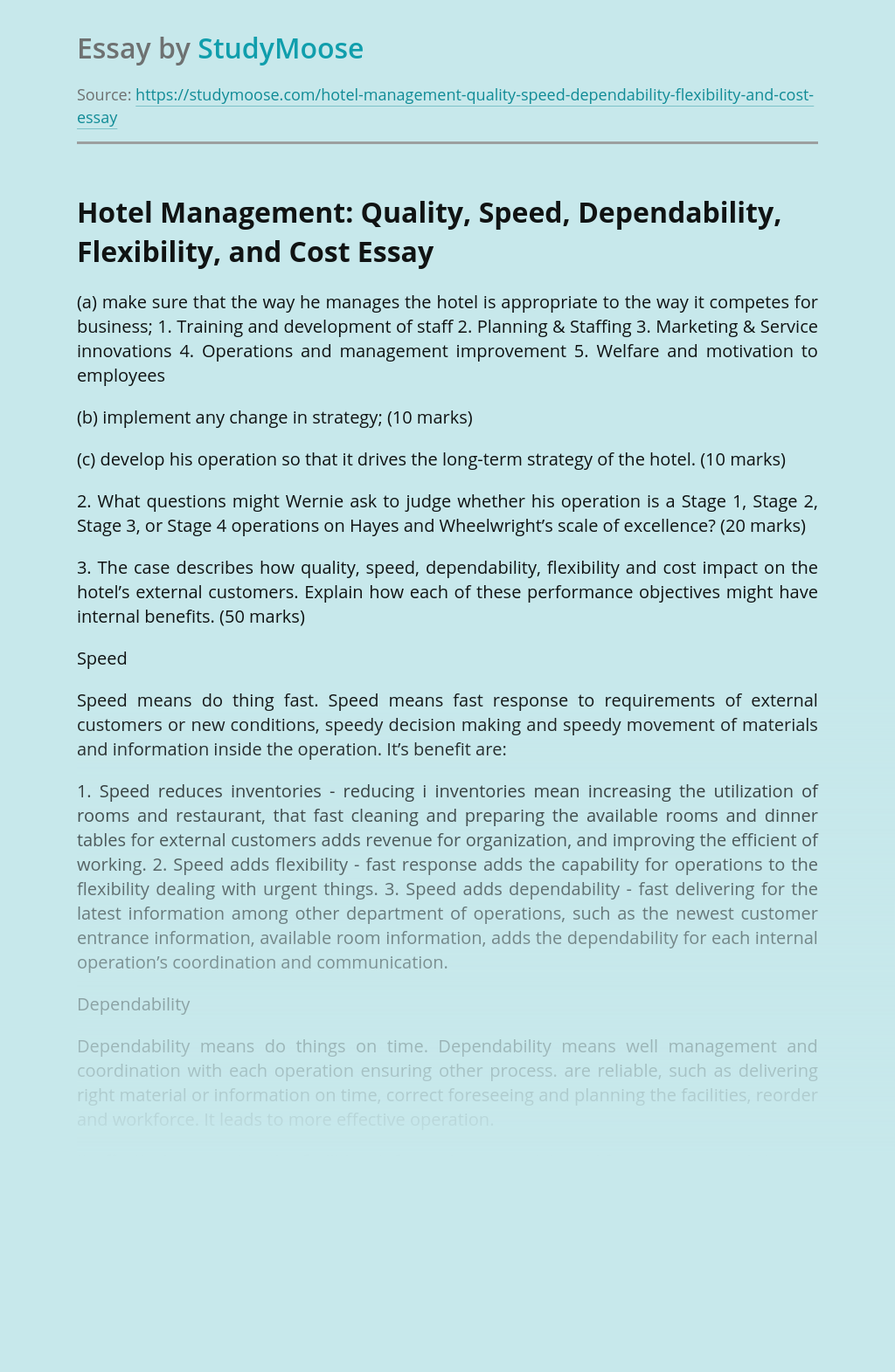 Hotel Management: Quality, Speed, Dependability, Flexibility, and Cost