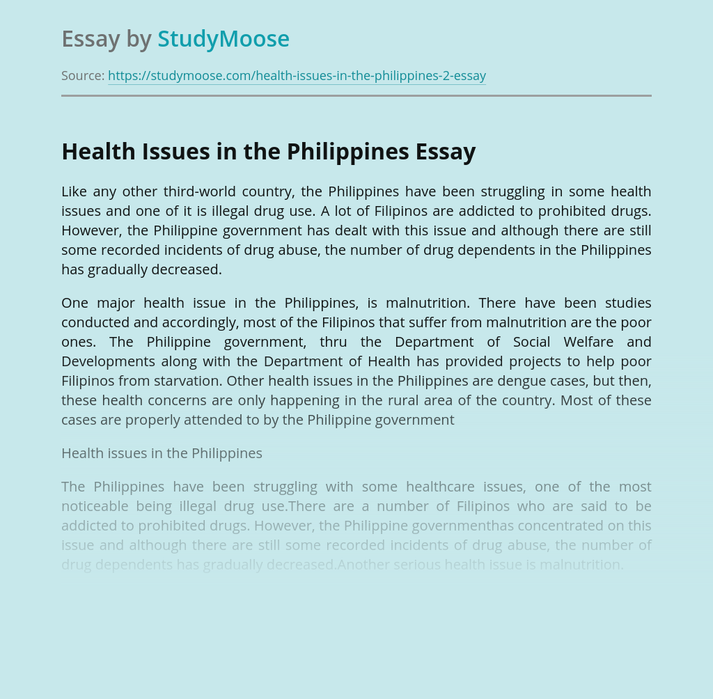 Addiction and Malnutrition in the Philippines