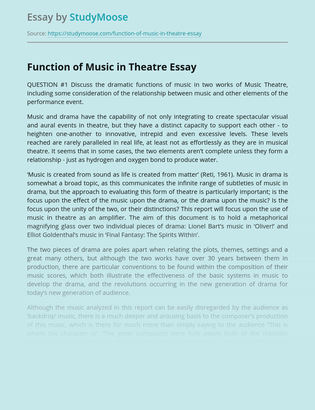 Function of Music in Theatre