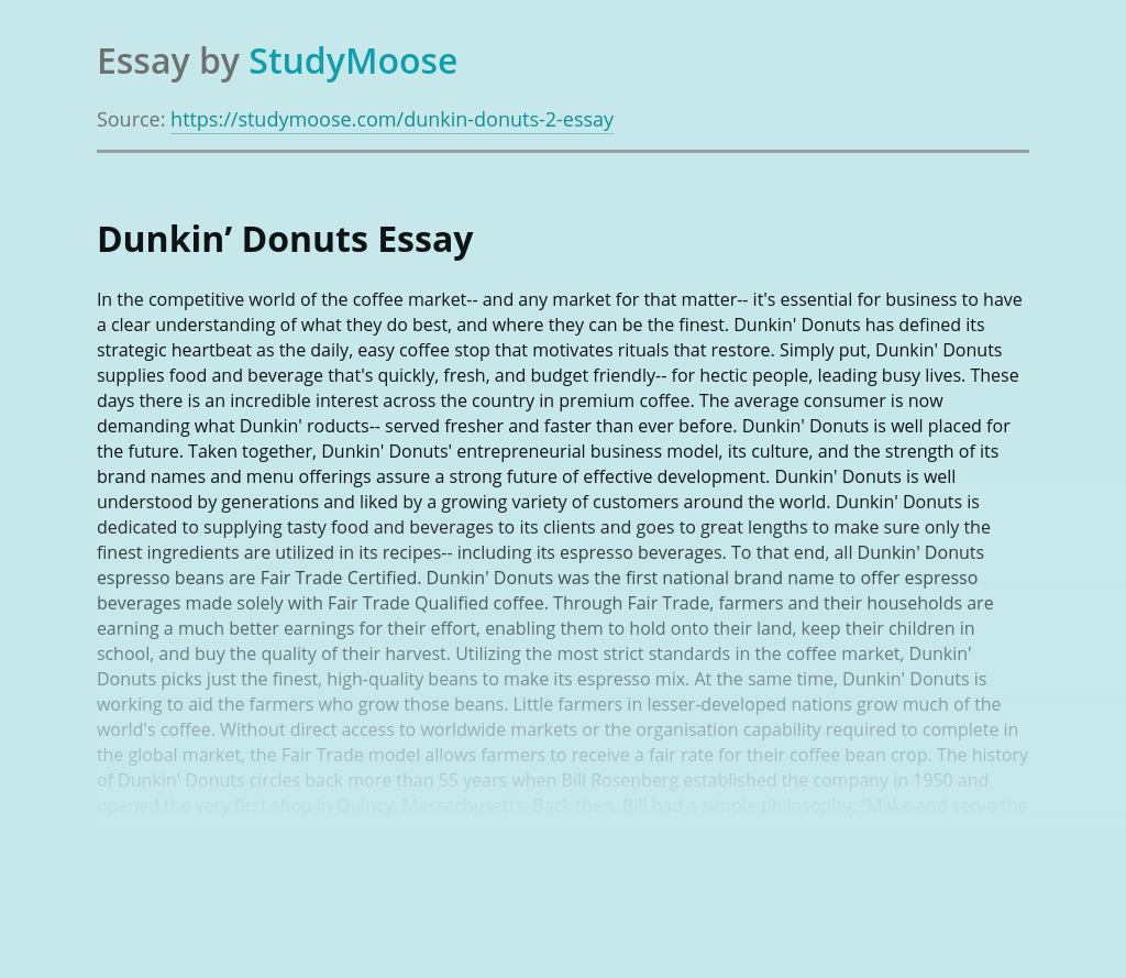 Dunkin' Donuts or Empire of good coffee