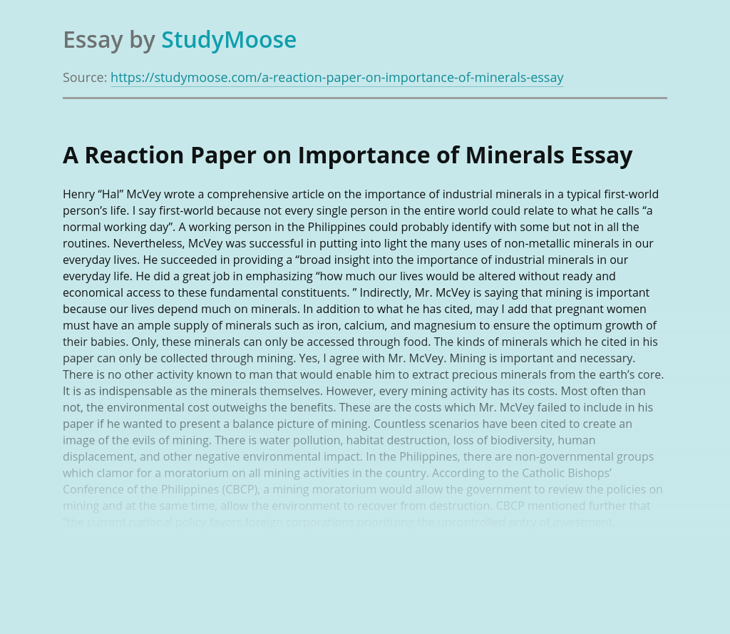A Reaction Paper on Importance of Minerals