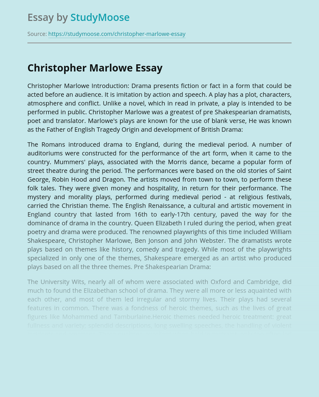 About Christopher Marlowe