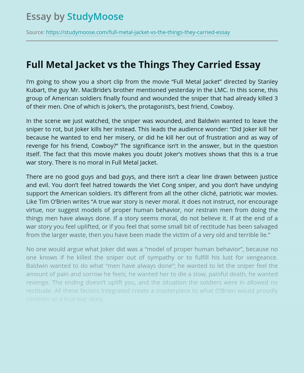 Full Metal Jacket vs the Things They Carried