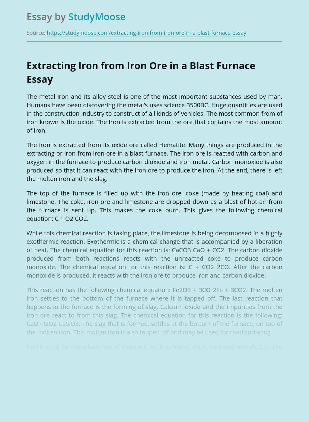 Iron Ore Processing in Mining Industry
