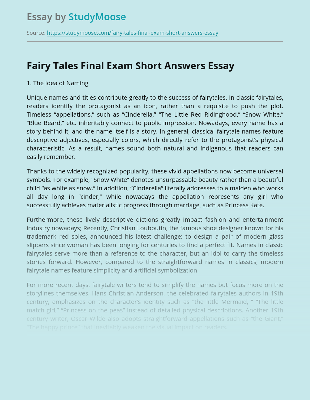 Fairy Tales Final Exam Short Answers