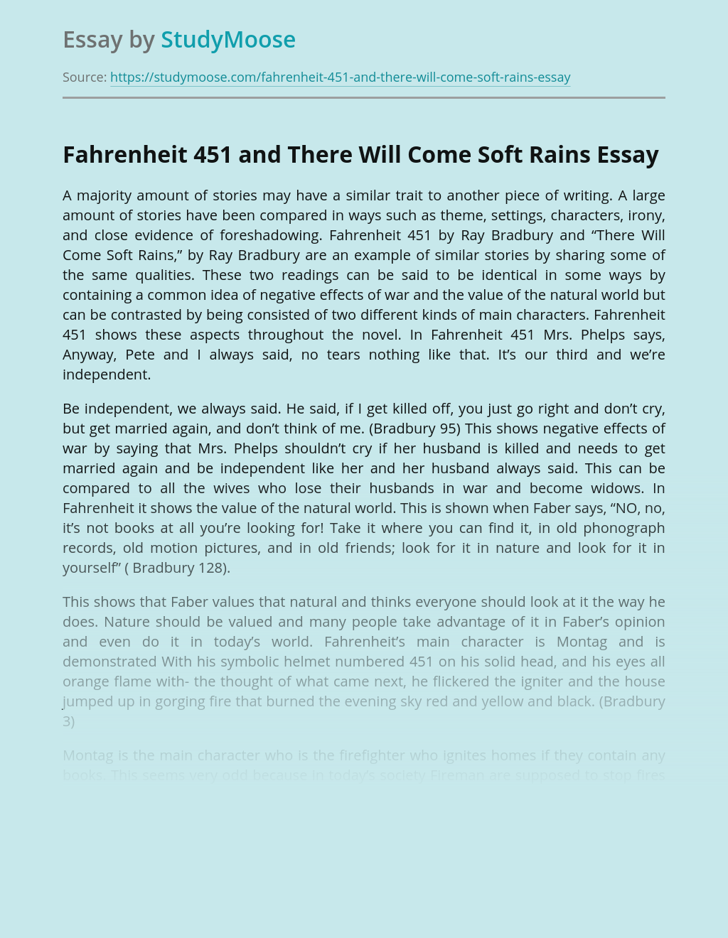 Fahrenheit 451 and There Will Come Soft Rains