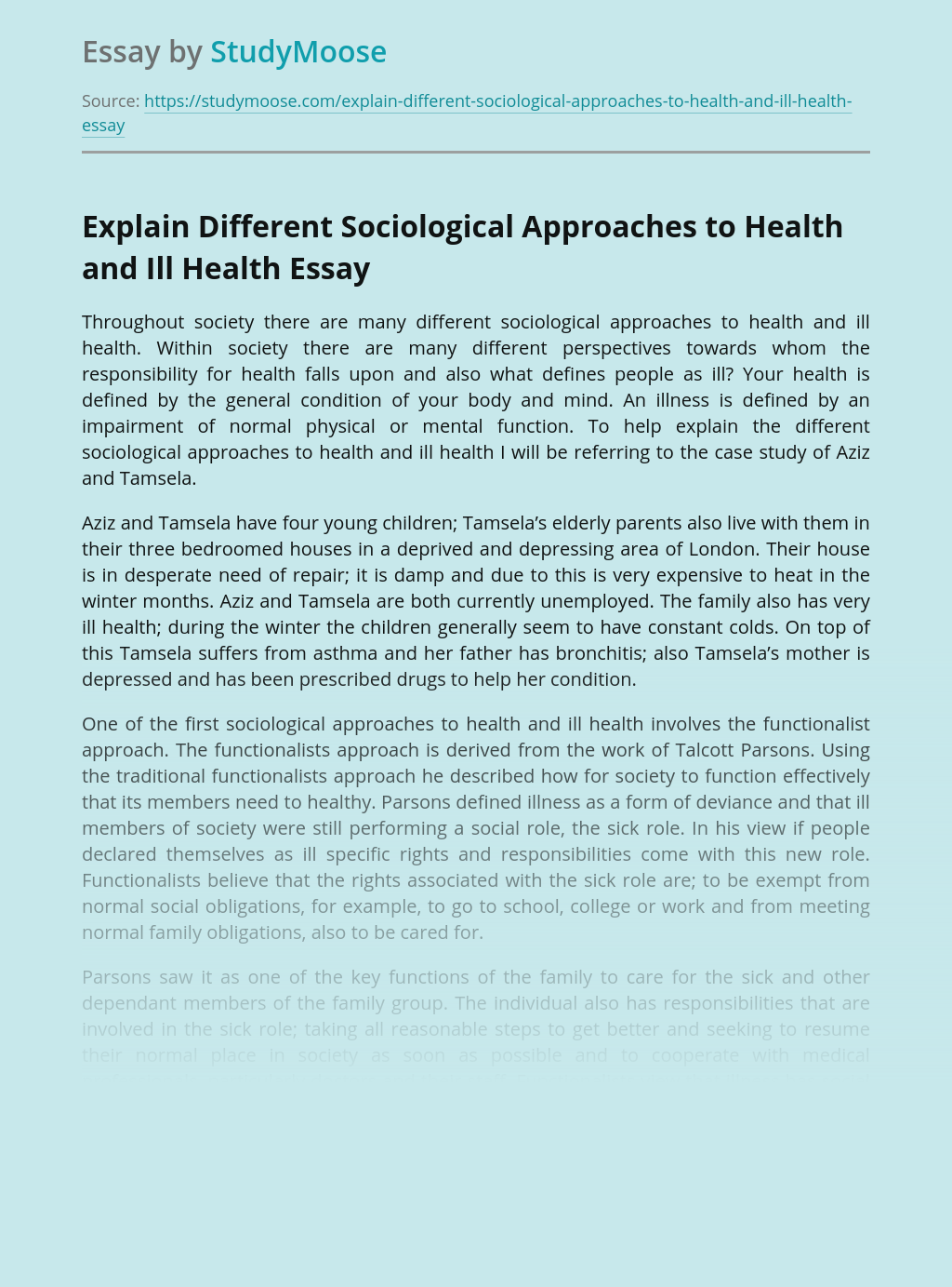 Explain Different Sociological Approaches to Health and Ill Health