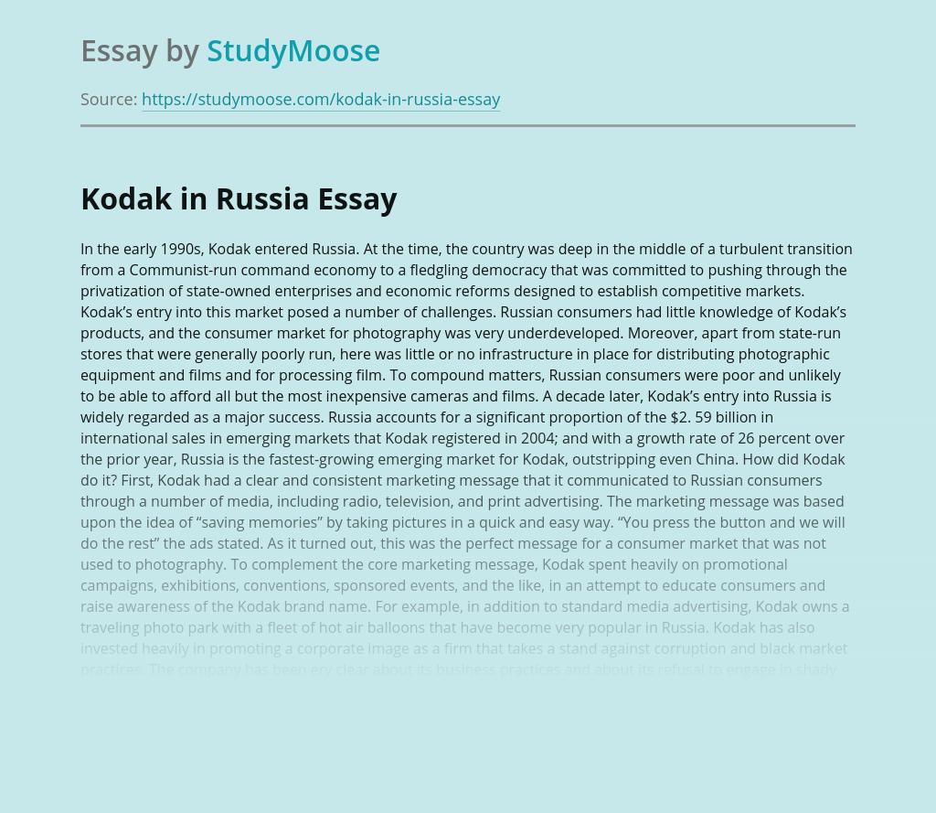 Kodak Franchising in Russia