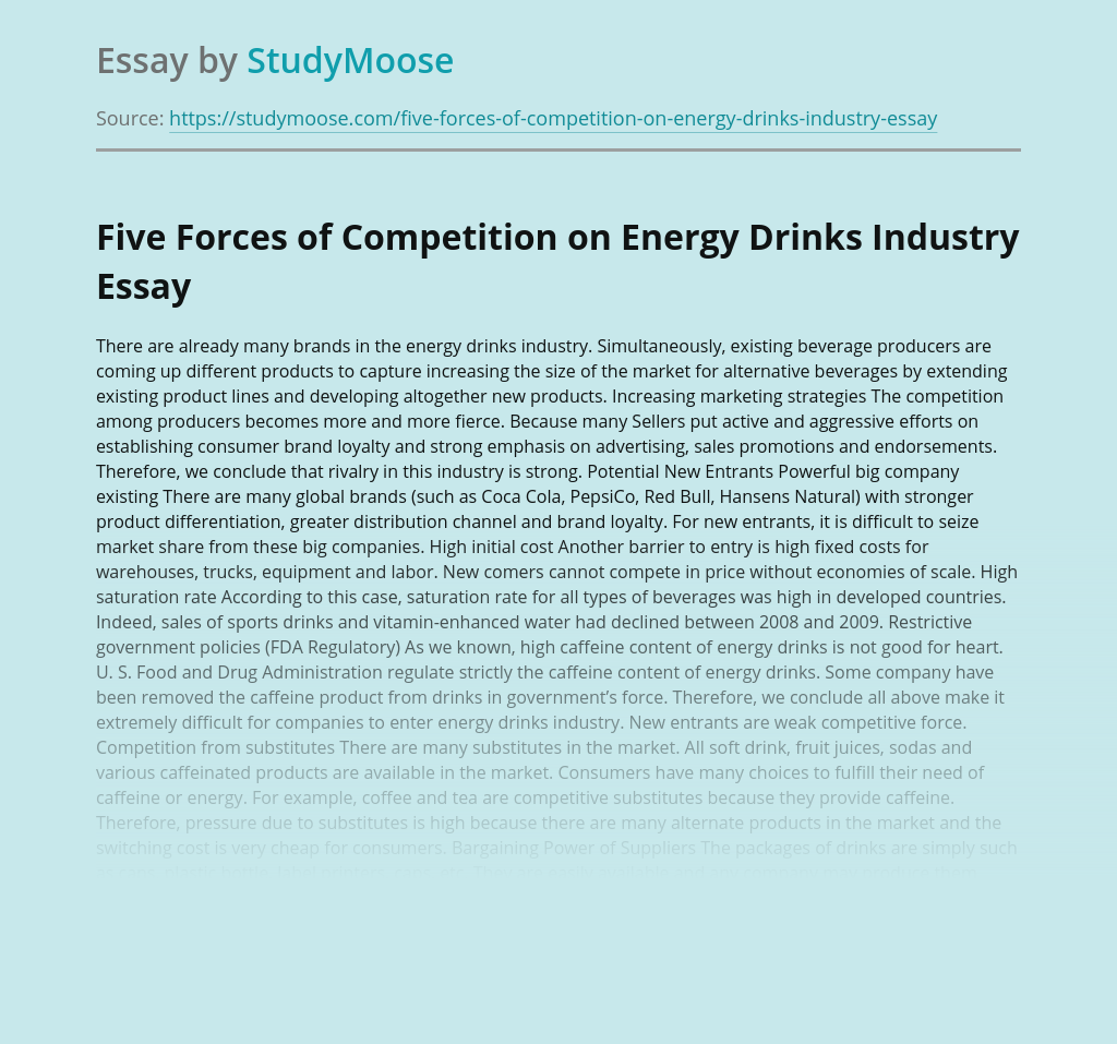 Five Forces of Competition on Energy Drinks Industry