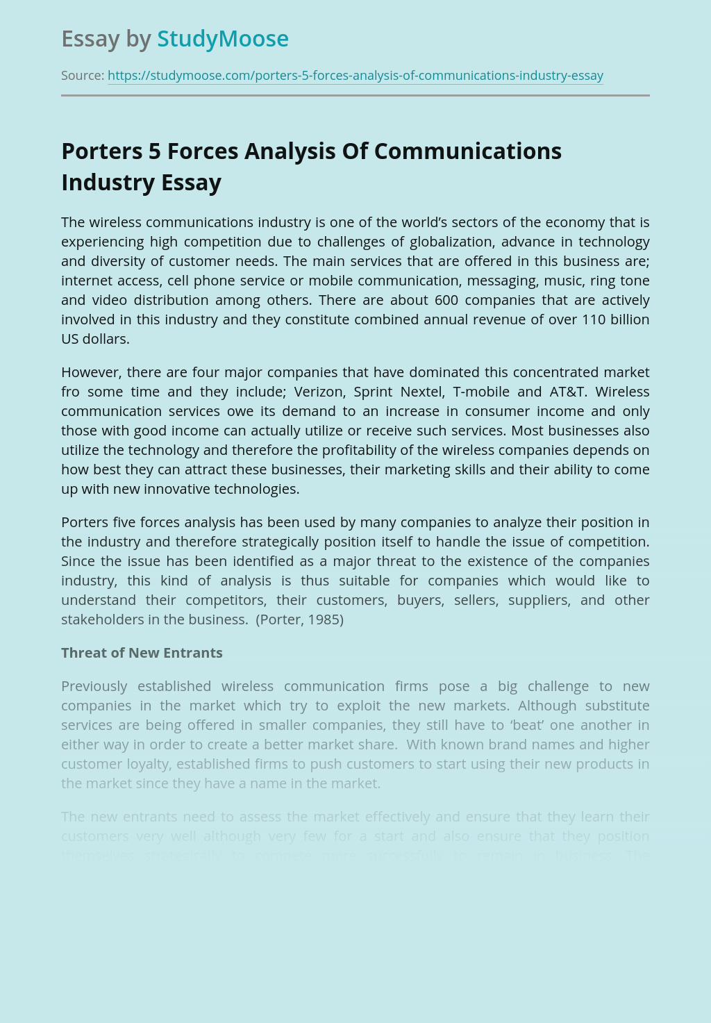 Porters 5 Forces Analysis Of Communications Industry