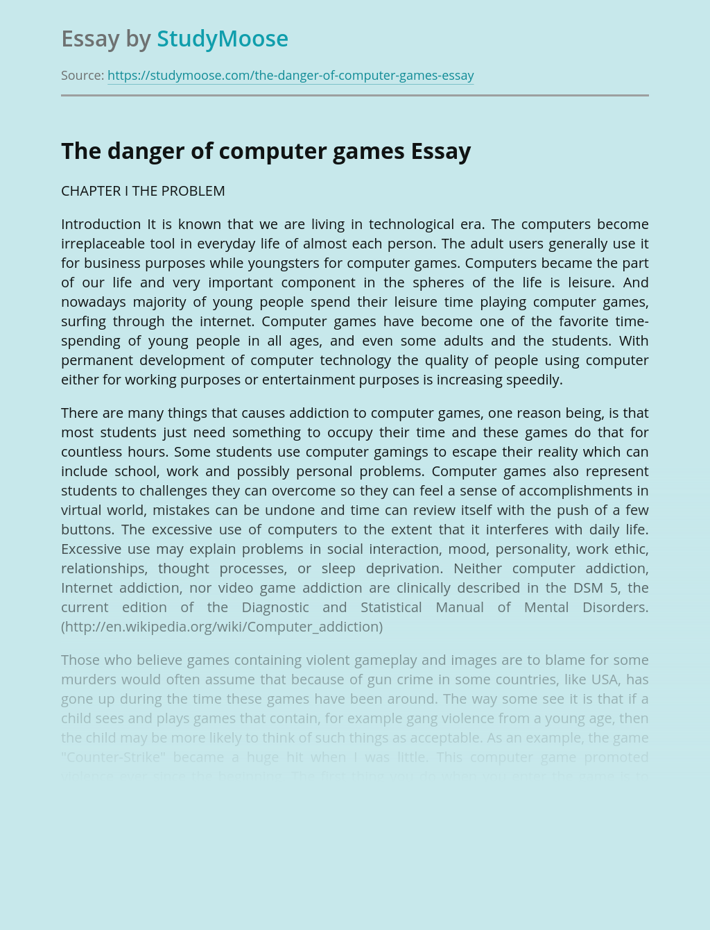 The danger of computer games
