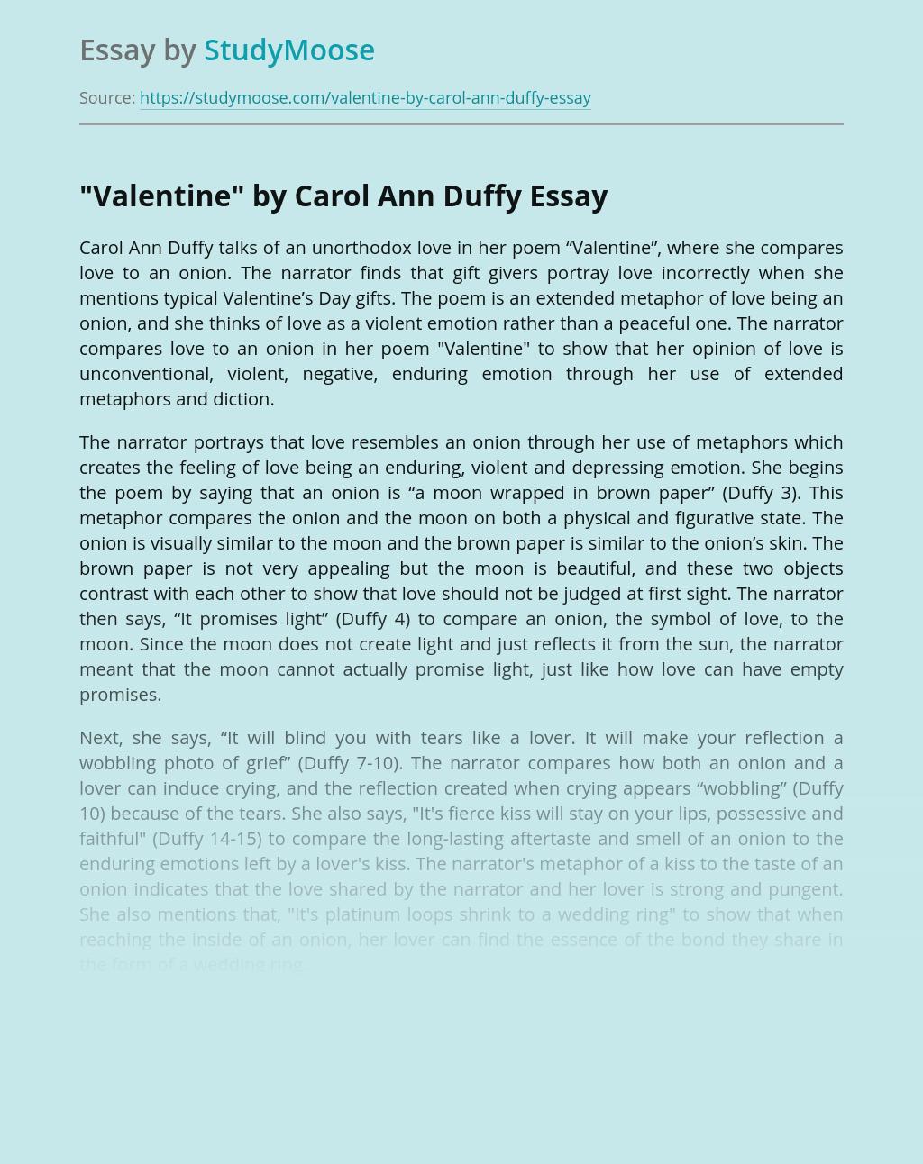"""""""Valentine"""" by Carol Ann Duffy"""