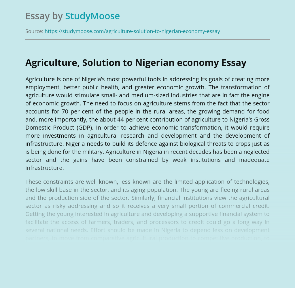 Agriculture, Solution to Nigerian economy