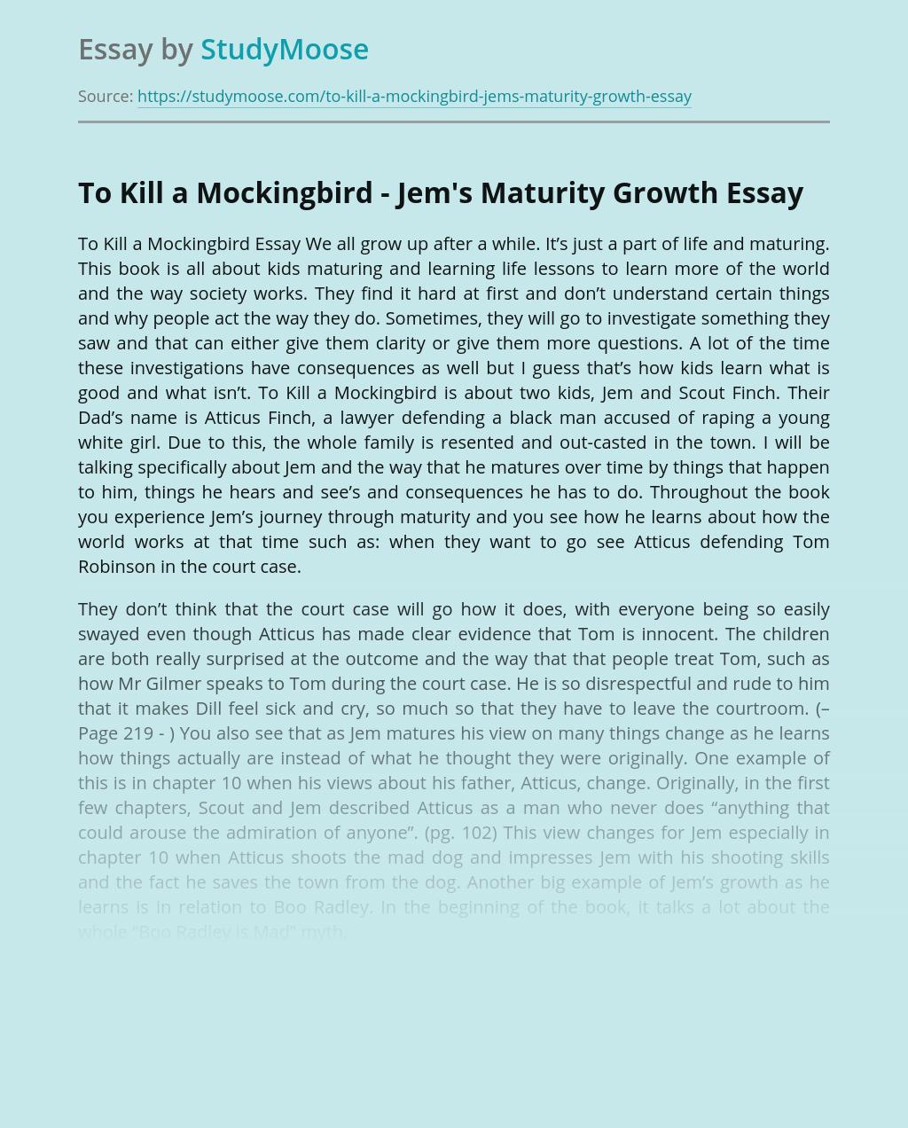 To Kill a Mockingbird - Jem's Maturity Growth
