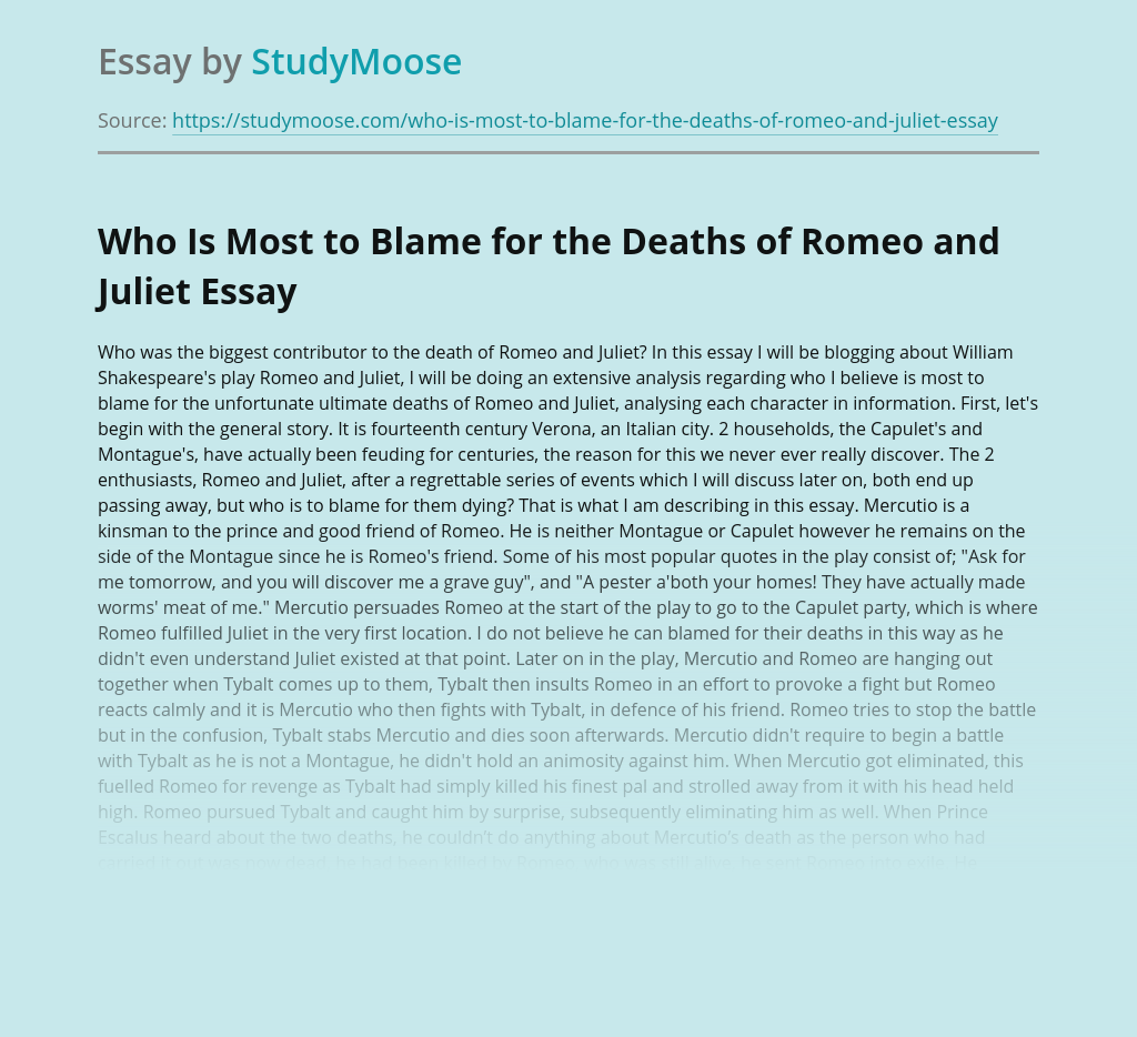 Who Is Most to Blame for the Deaths of Romeo and Juliet