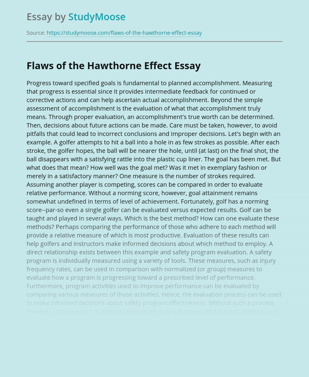 Flaws of the Hawthorne Effect