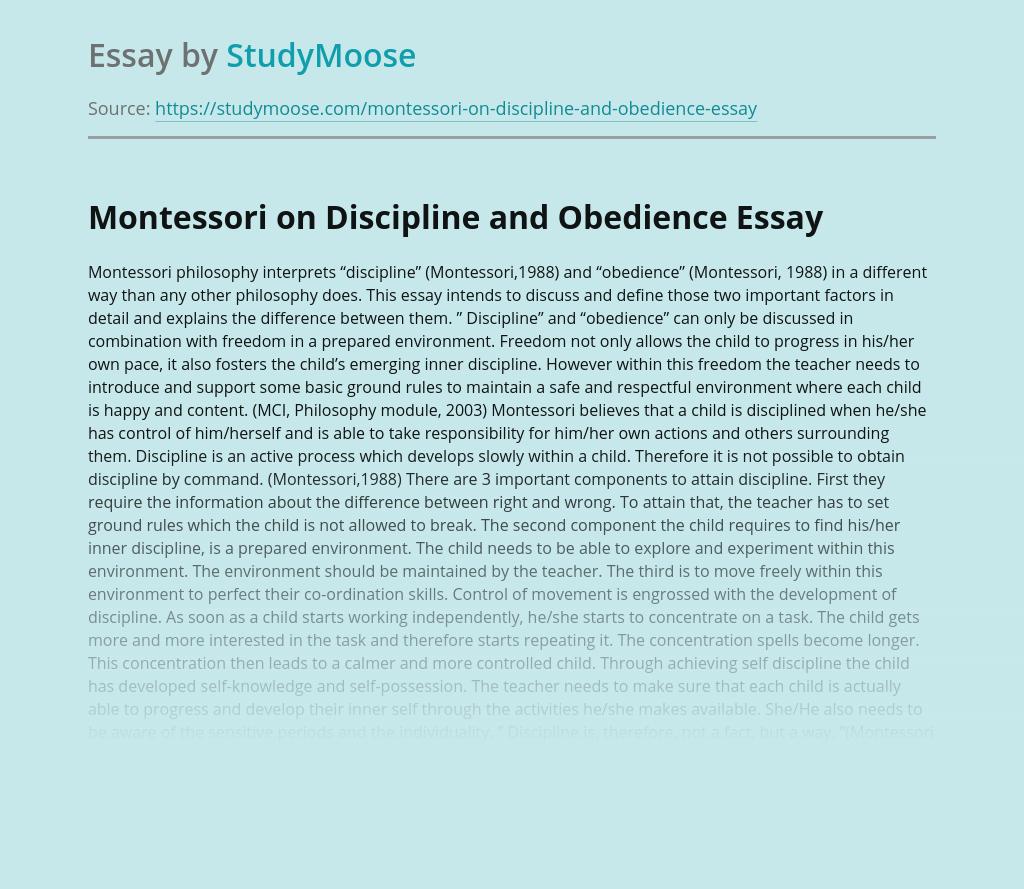 Montessori on Discipline and Obedience