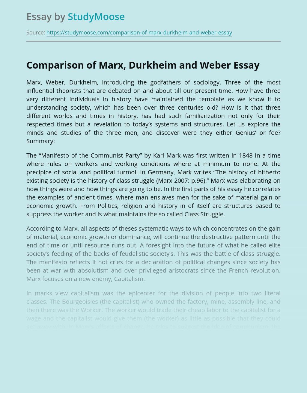 Comparison of Marx, Durkheim and Weber