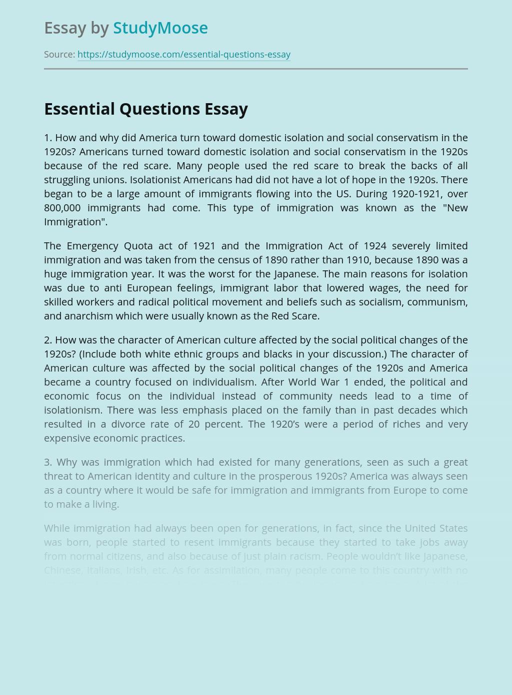 World War I Essential Questions