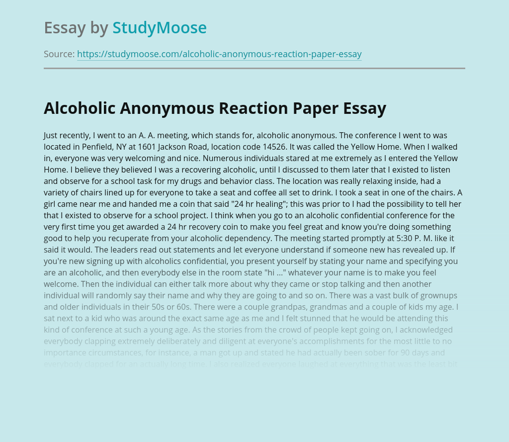Alcoholic Anonymous Reaction Paper