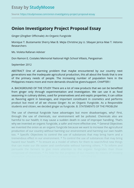 Onion Investigatory Project Proposal